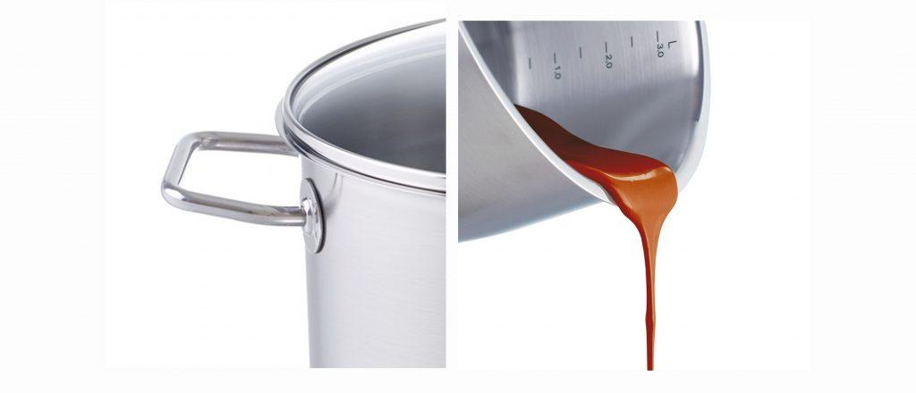 Bộ nồi Fissler Viseo 5món có thiết kế tiện lợi với thang đo mực nước và vành nồi rộng
